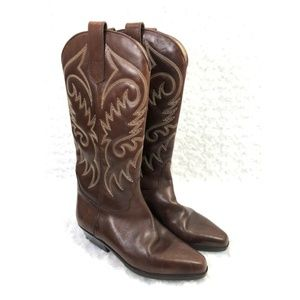 Girls Vero Cuoio Brown Leather Western Boots